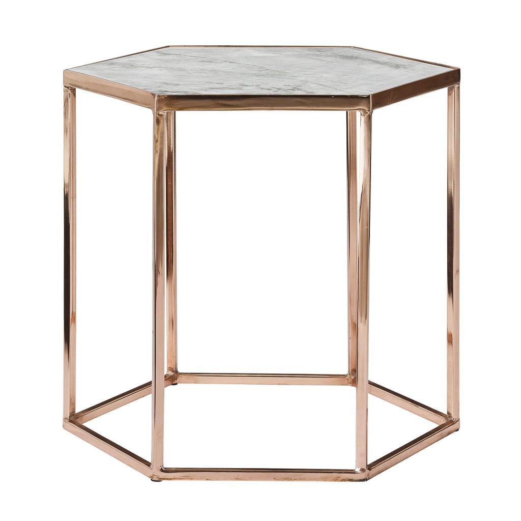 mesa hexagonal marmol y cromo