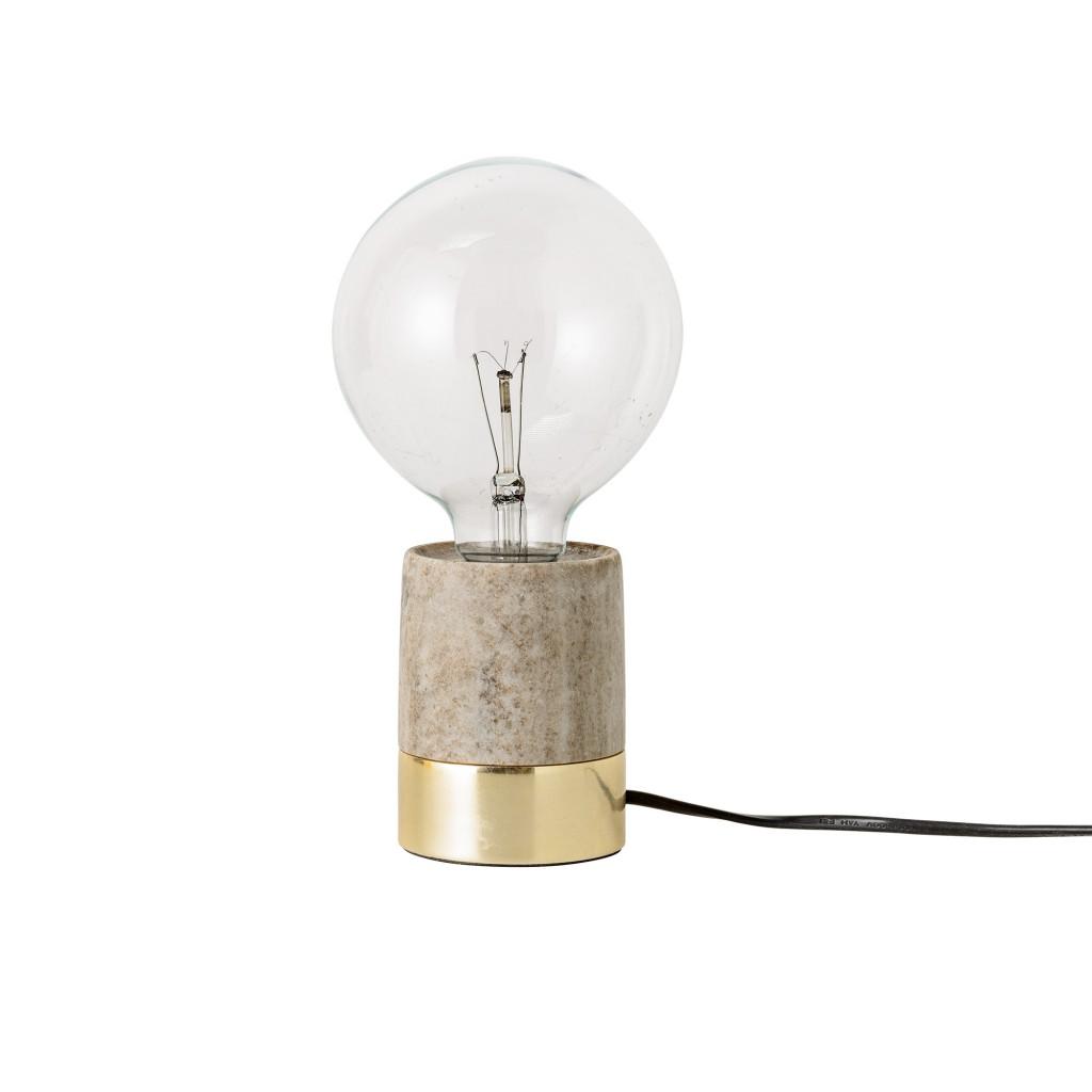lámpara de sobremesa dorada y marmol