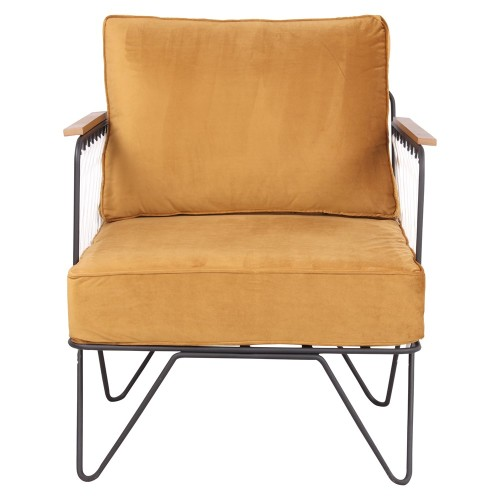 Butaca estilo Mid Century con estructura tubular de acero y asiento y respaldo con cojines tapizados en textil