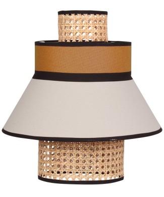 Pantalla para lámpara de techo fabricada en rejilla de enea y textil. Amarilla