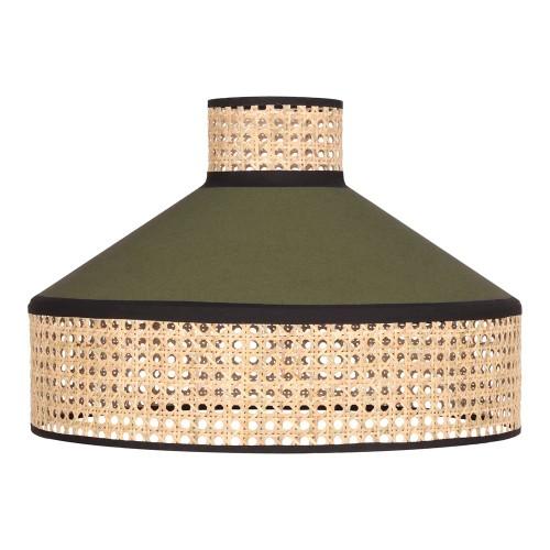 Pantalla para lámpara de techo fabricada en rejilla de enea y textil. verde