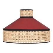 Pantalla para lámpara de techo fabricada en rejilla de enea y textil.