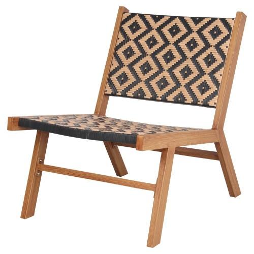 Sillón 'lounge' estilo nórdico con estructura de aluminio acabada en imitación madera