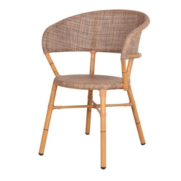 Silla estilo Bistró con estructura de aluminio con acabado en imitación a bambú,
