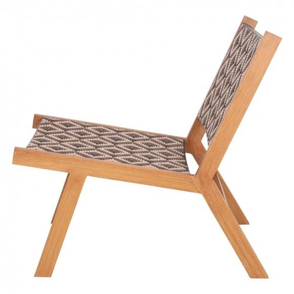 Sillón 'lounge' estilo nórdico con estructura de aluminio acabada en imitación madera,