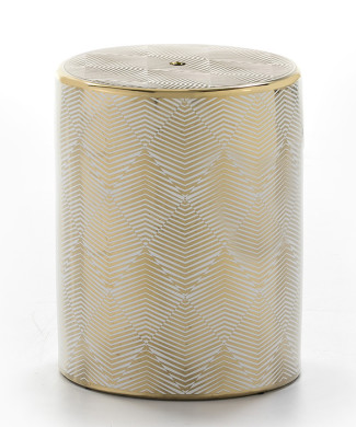 taburete cerámica blanco y dorado